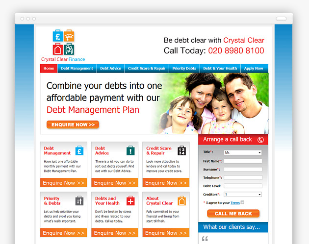 Crystal Clear Finance - Debt Management Website