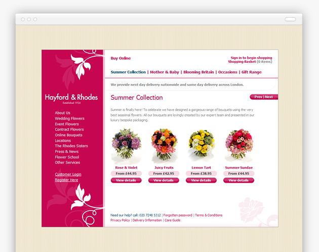 Hayford and Rhodes - Website (internal view)