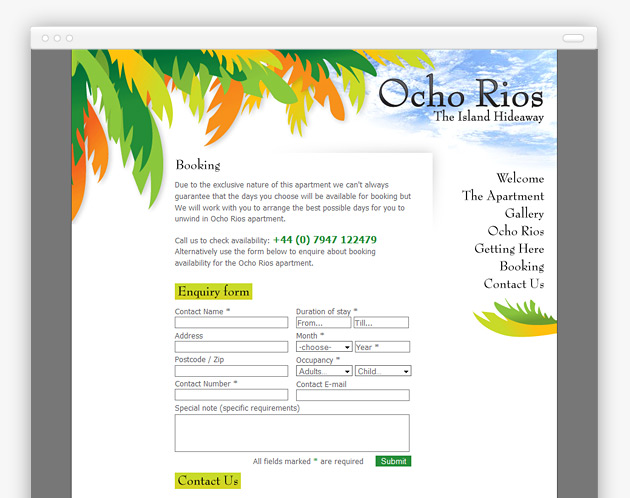 Ocho Rios Hideaway - Website (internal view)
