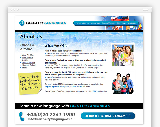 East City Languages - Website (internal view)