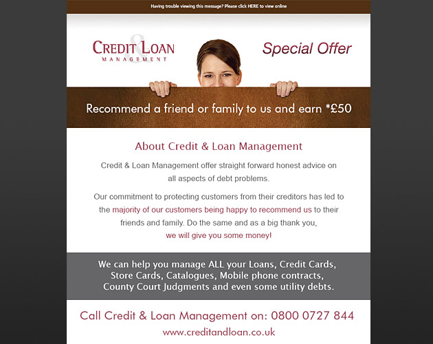 Credit and Loan Management - HTML email advert