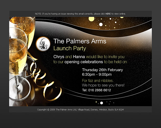 The palmers arms html launch party invite big web company html launch party invite stopboris