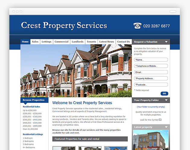 Crest Property Services - Estate Agent Website