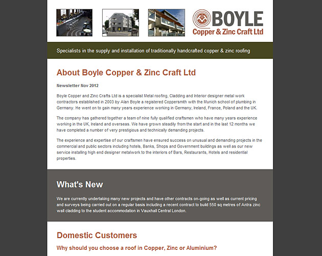 Boyle - newsletter design