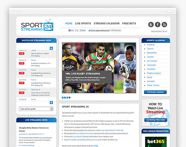 Sport Streaming 24 - Live Sports Web Design
