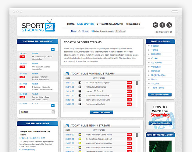 Sport Streaming 24 - Live Sports Table