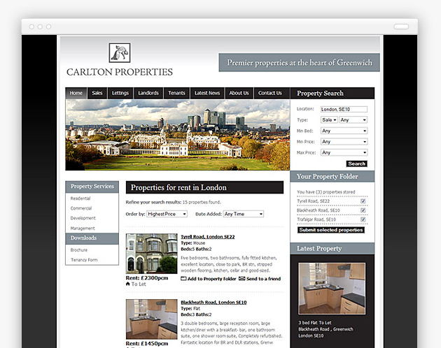 Carlton Property Services - Estate Agent Website