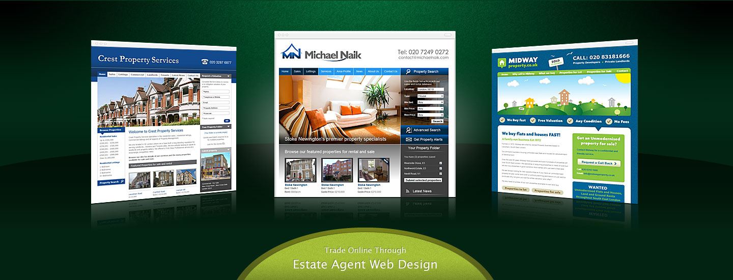 Our range of affordable online web creation services specifically aimed towards estate agents and real estate property developers.